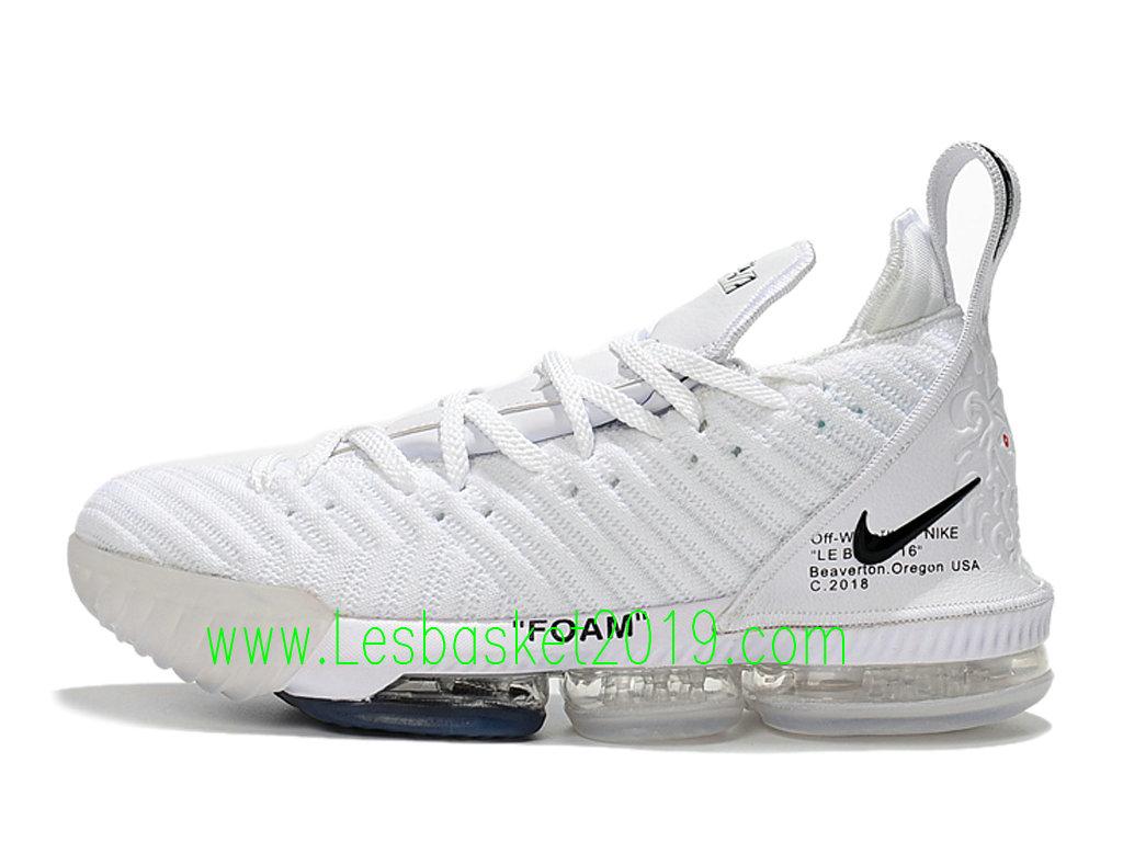 3784e55ec6c1c 2019 Nike LeBron 16 Chaussures Officiel Basket 2019 Pas Cher Pour Homme  Blanc NOir AO2588-